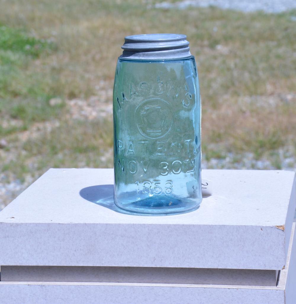 Mason's Keystone 1858 Quart Fruit Jar