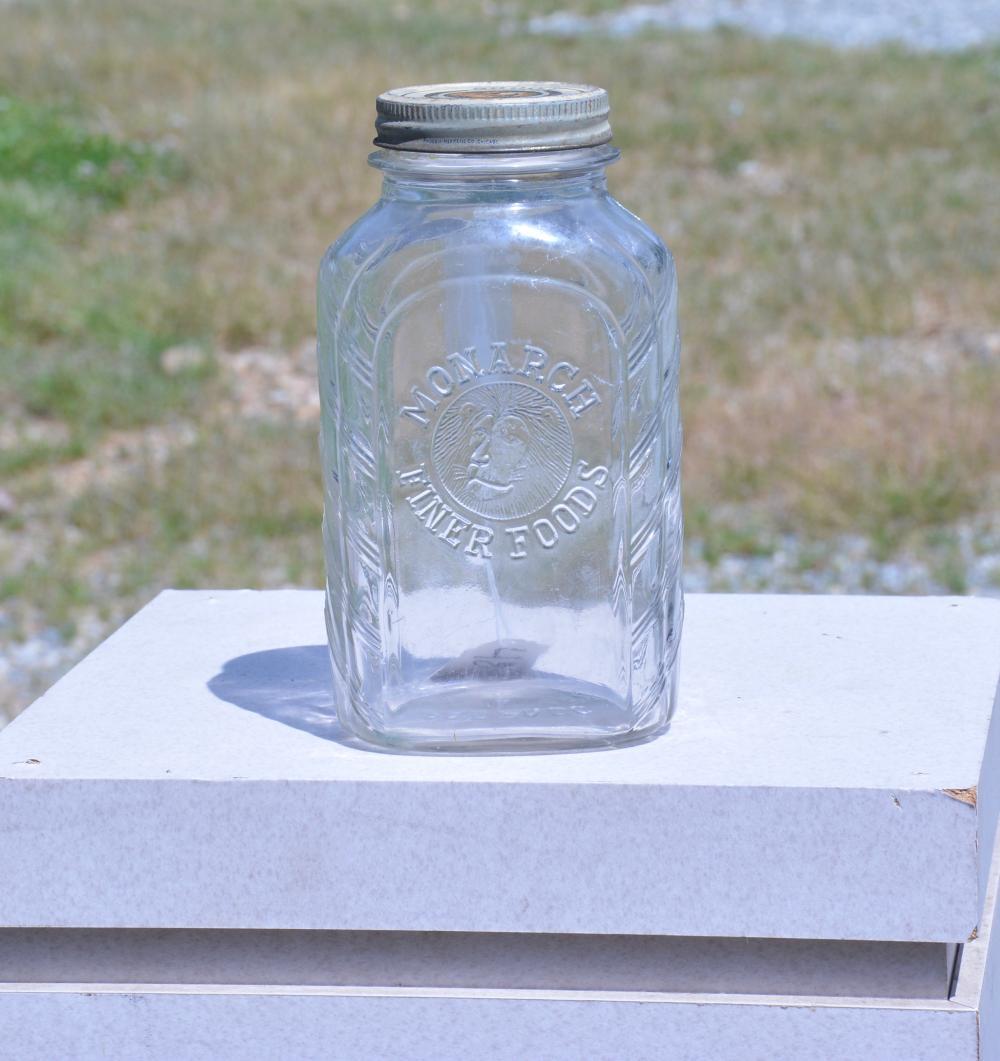 Monarch Finer Foods Glass Jar With Original Lid