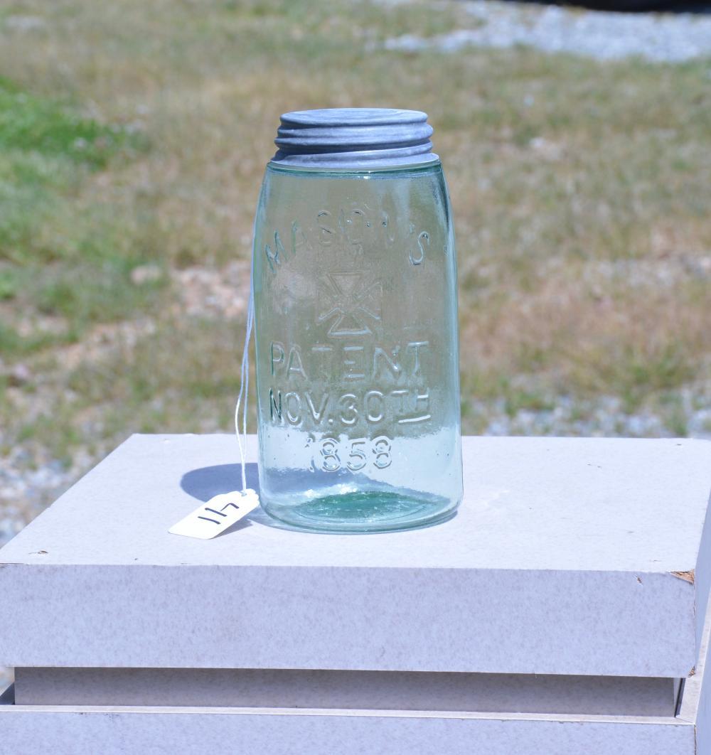 Mason's Iron Cross 1858 Green Quart Fruit Jar