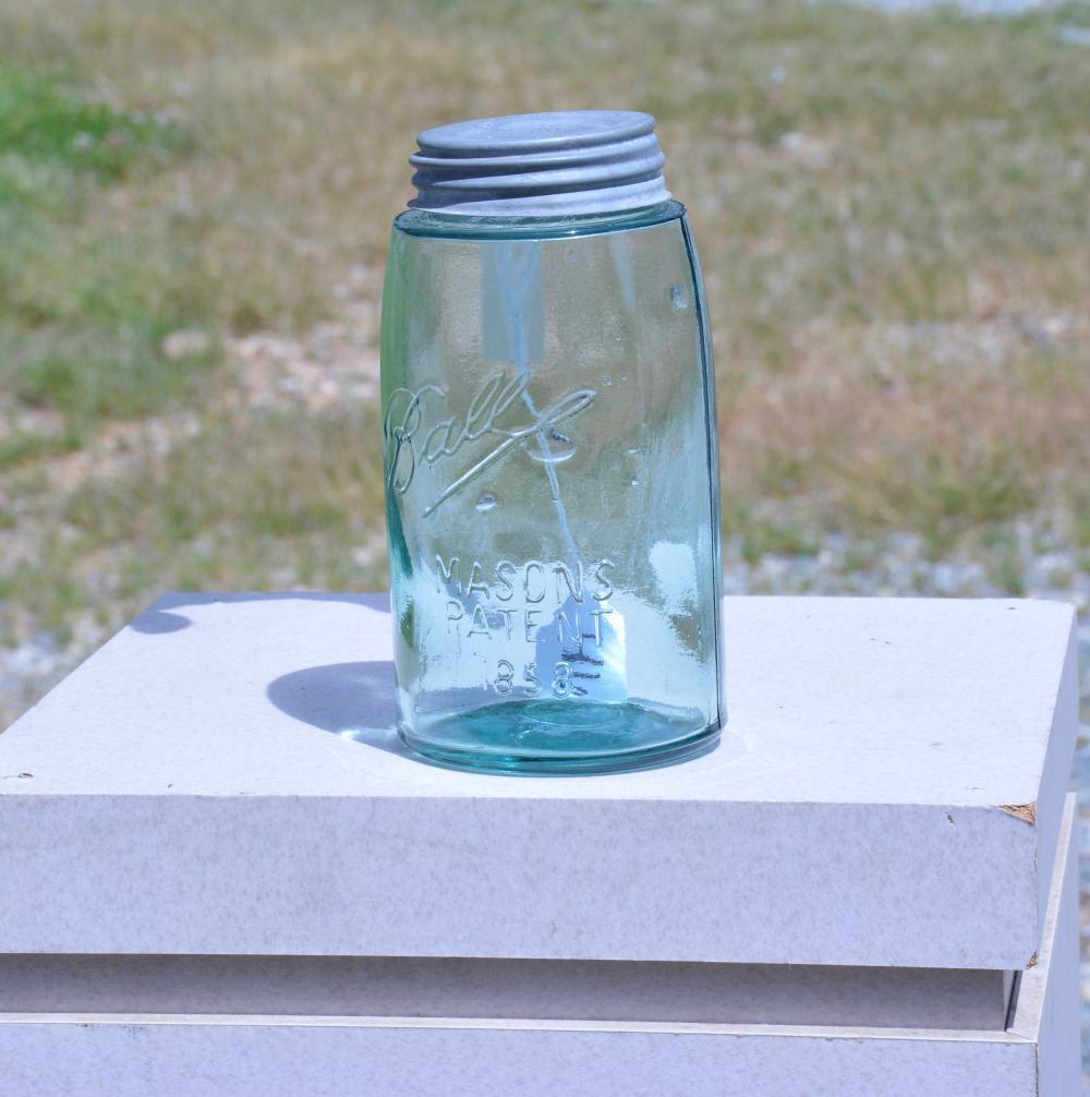 Ball Mason's Patent 1858 Green Quart Fruit Jar