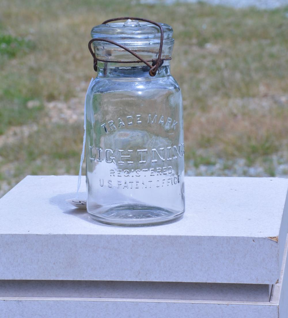 Trade Mark Lightning U.S. Patent Office Clear Quart Fruit Jar