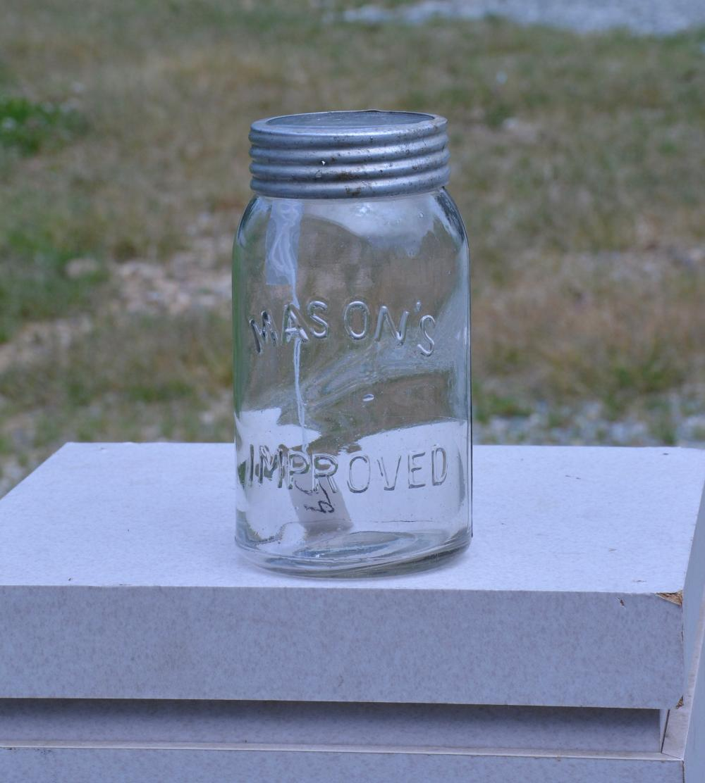 Mason's Improved Glass Lid Quart Fruit Jar