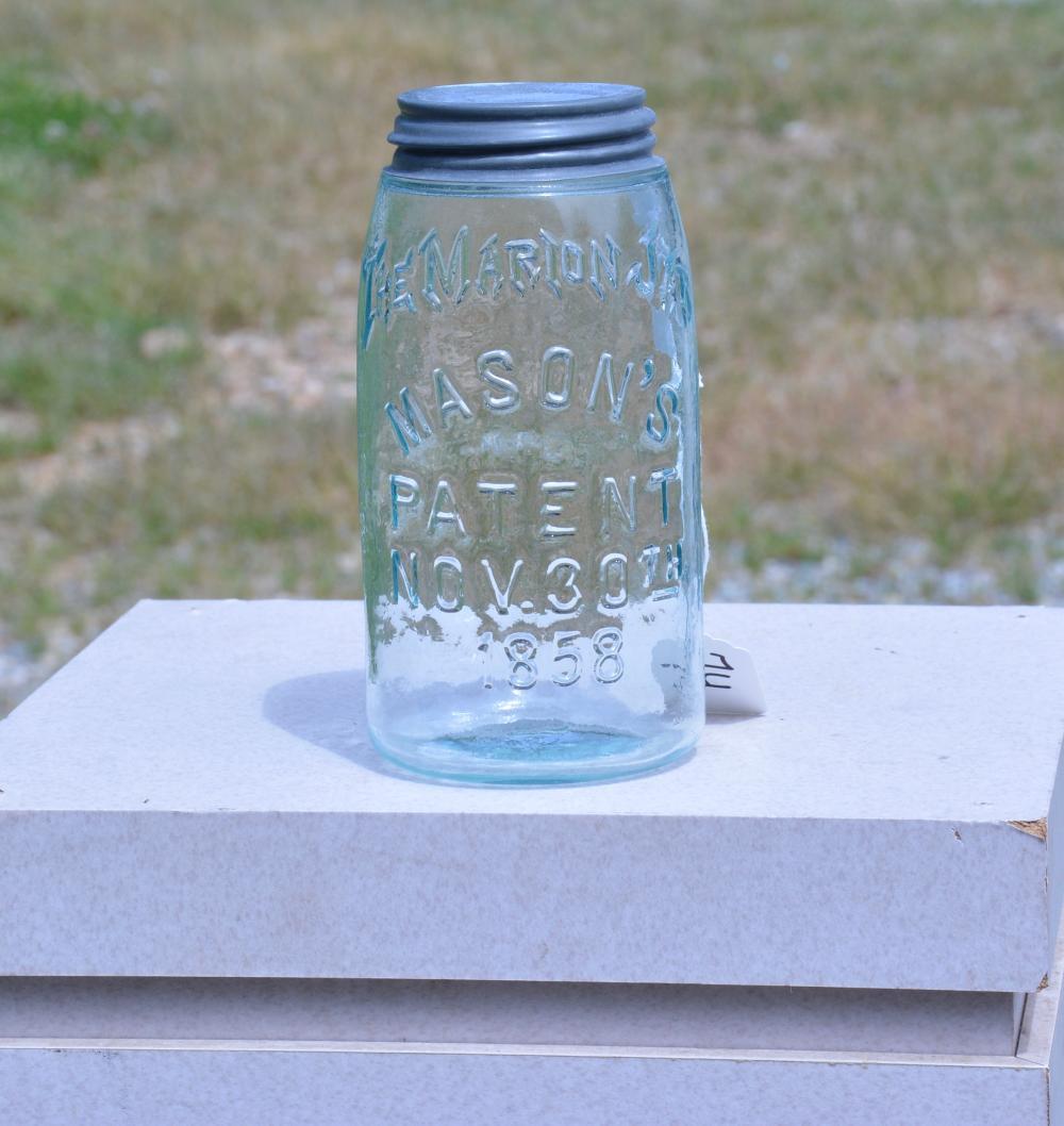 The Marion Jar Mason's Patent 1858 Quart Fruit Jar