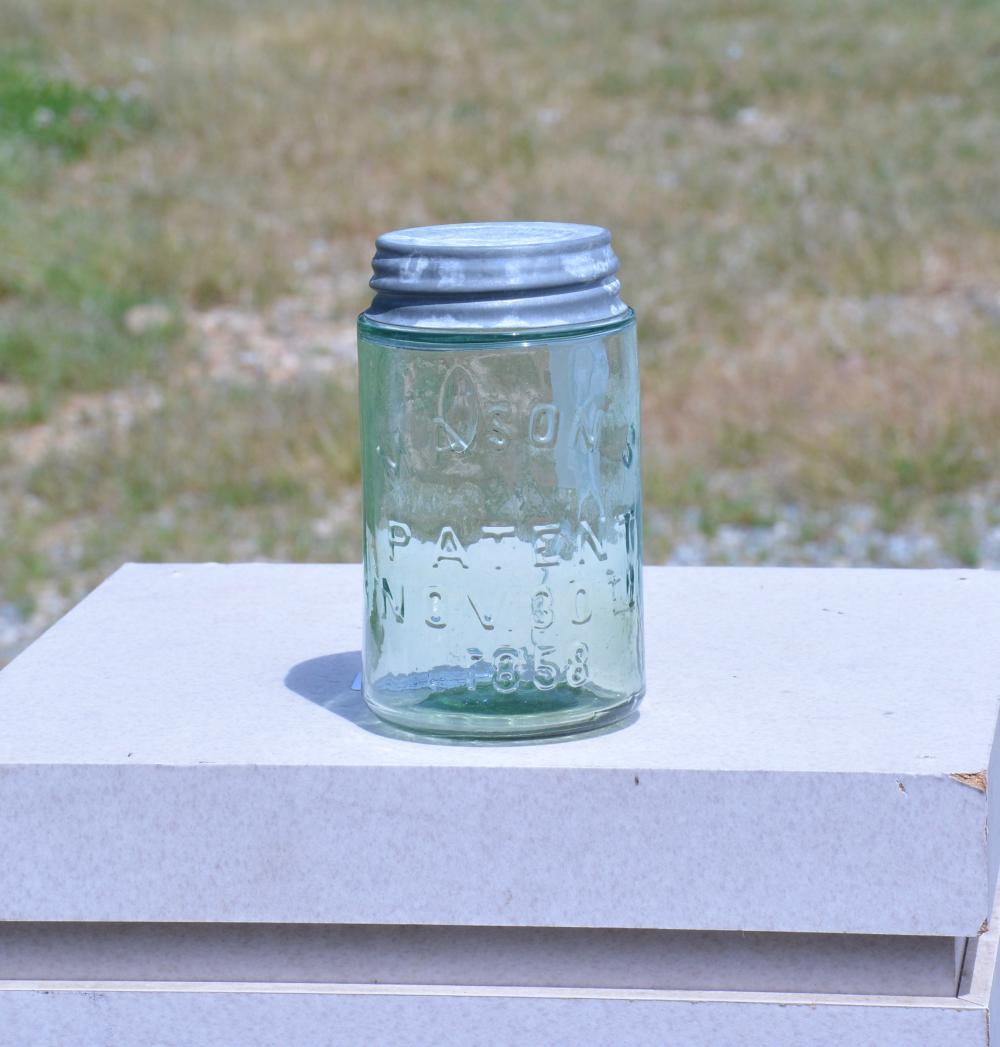 Mason's Apple Green Patent 1858 Pint Fruit Jar