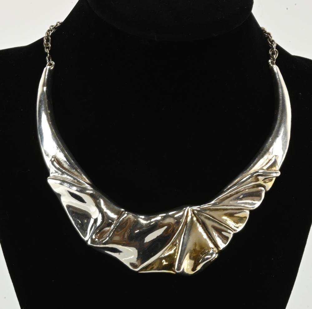 Vintage Modernist Sterling Silver Choker Necklace