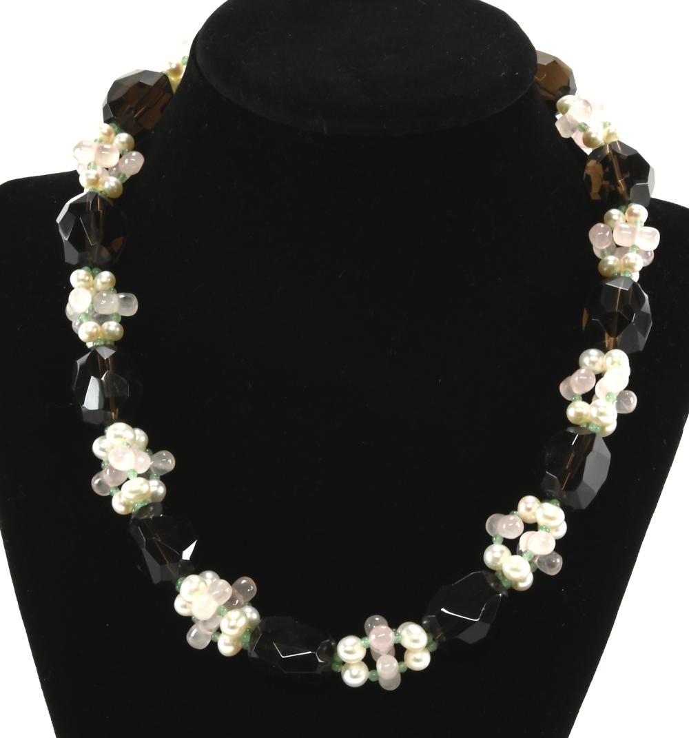 Vintage Designer Sterling Glass Bead Necklace