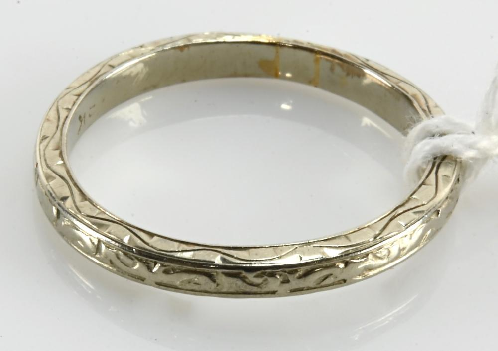 Antique 18K White Gold Wedding Band Ring