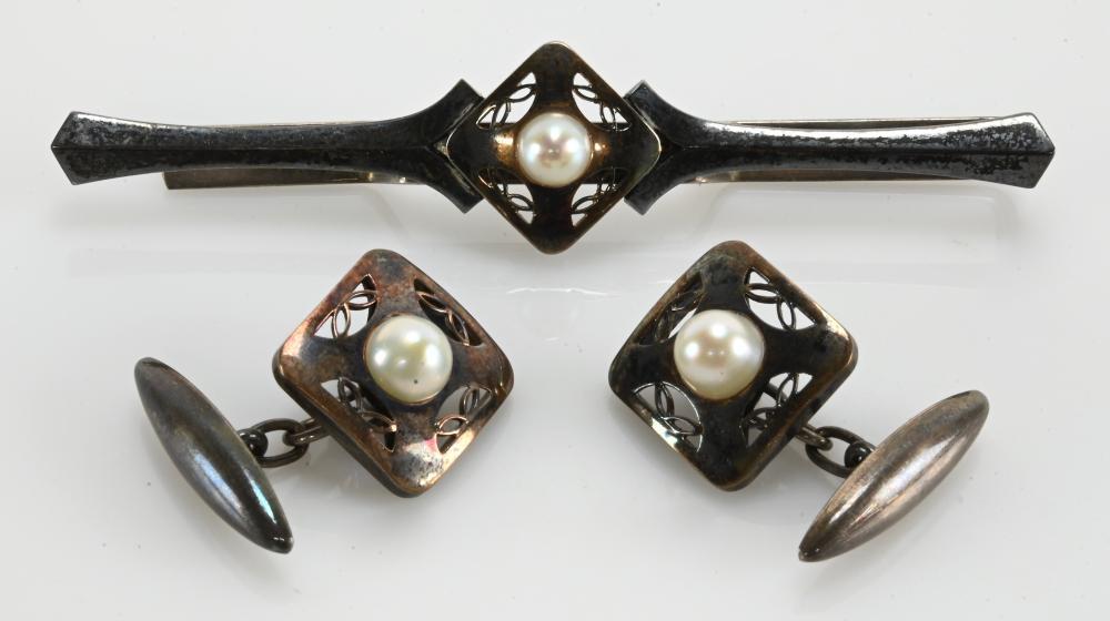 Vintage 10K Gold Silver Mens Cufflinks Tie Clasp Set