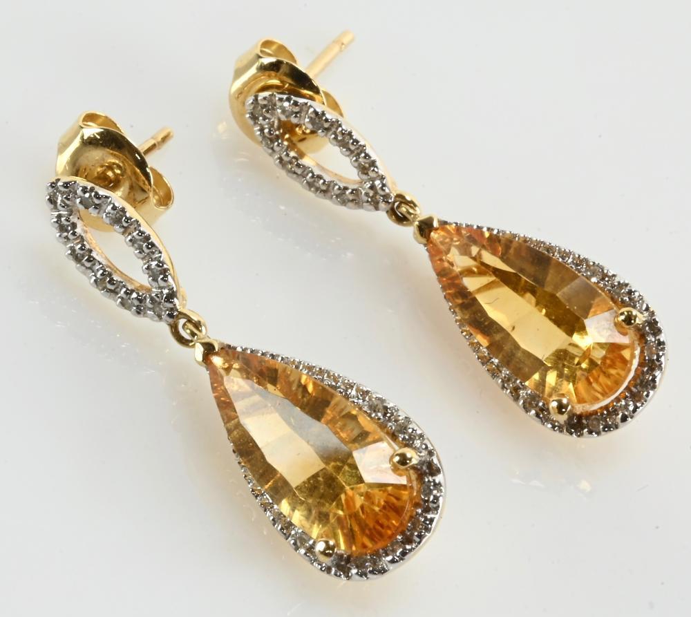 Very Fine 14K Gold Diamond & Citrine Dangle Earrings