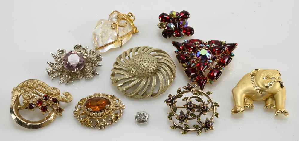 Vintage Estate Jewelry Designer Brooch Group Lot