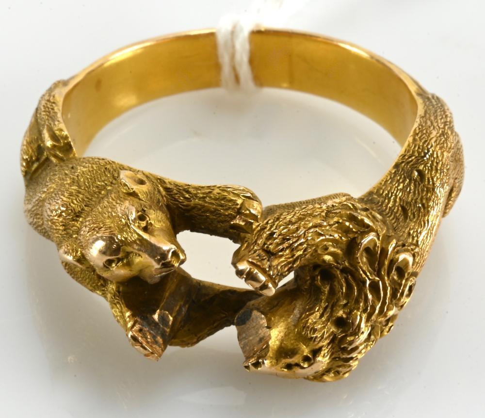 Very Fine Antique Gold Lion Estate Ring