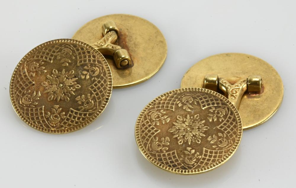Pair Antique 14K Gold Mens Cufflinks