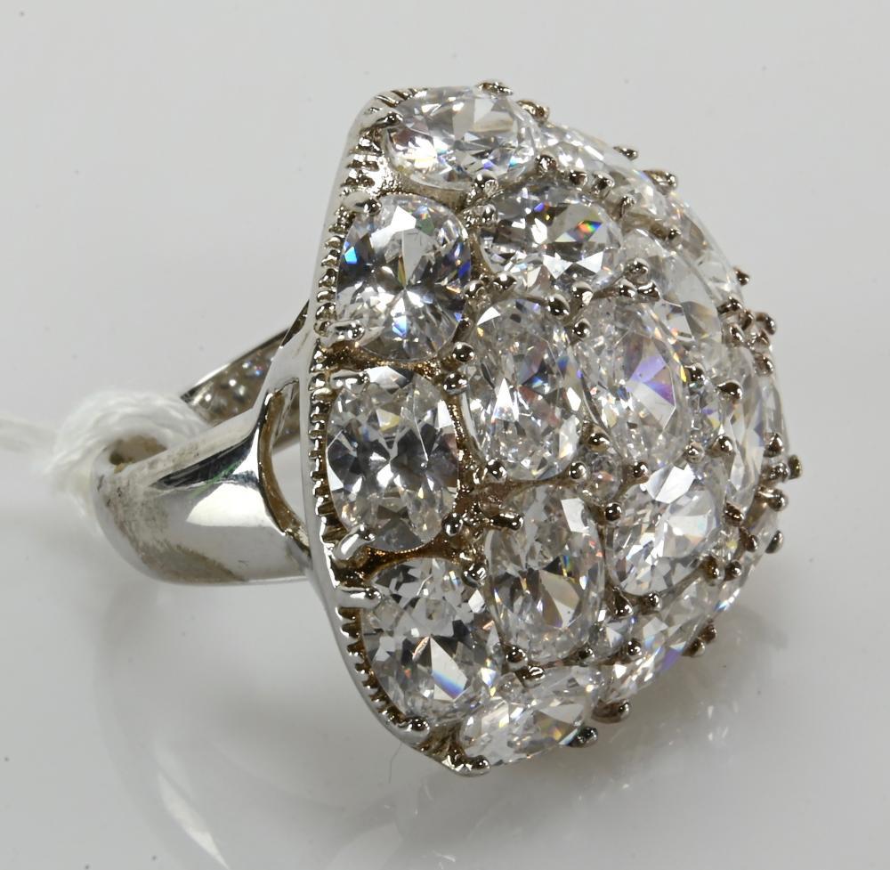 Vintage Rhinestone Cluster Designer Sterling Silver Ring