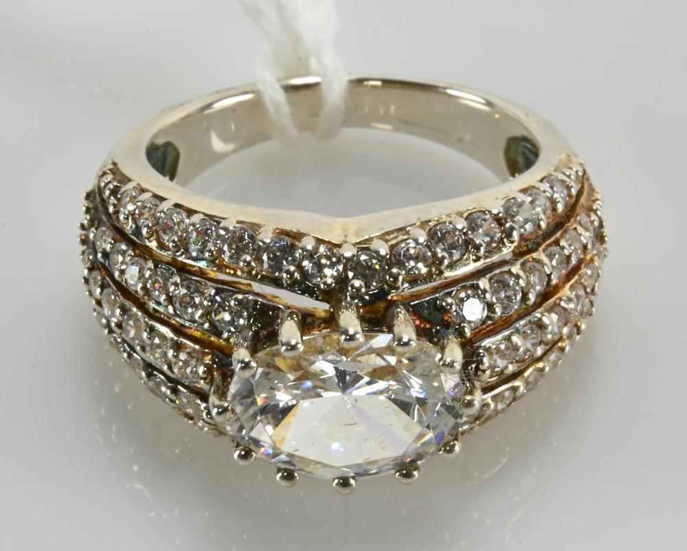 Vintage CZ Cluster Designer Sterling Silver Ring