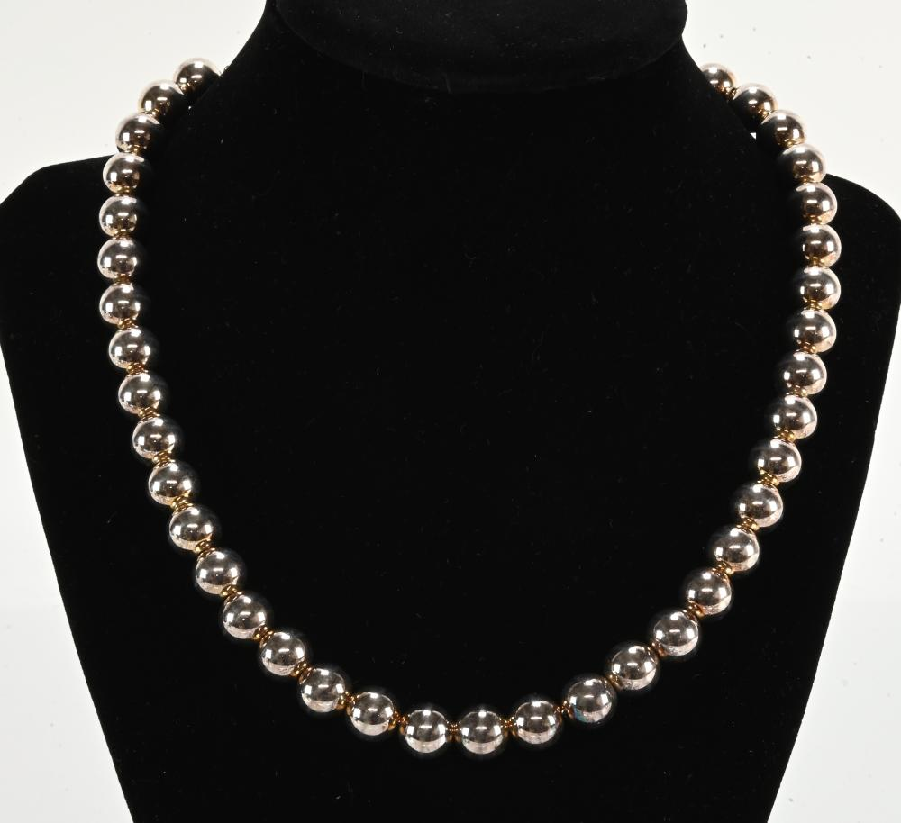 Vintage Italian Sterling Bead Necklace