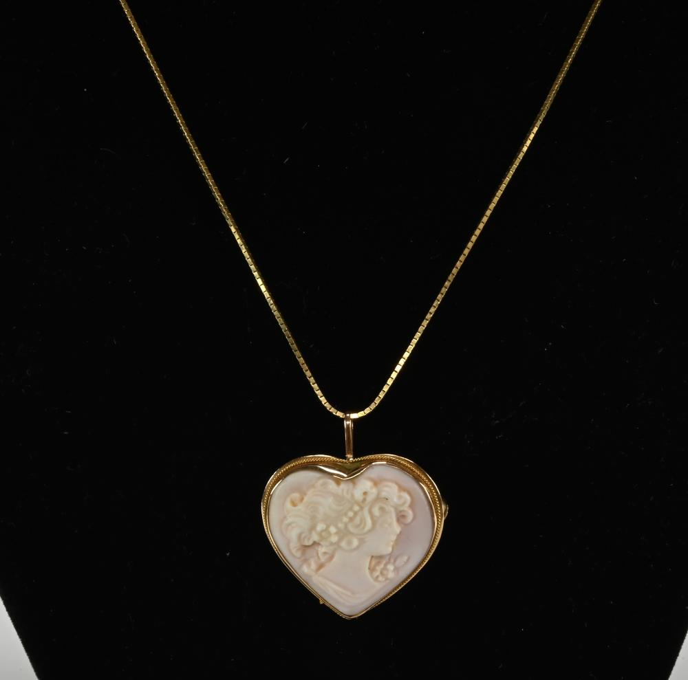 Vintage 14K Gold Designer Necklace And Cameo Pendant