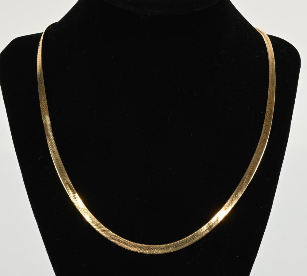 Vintage 14K Gold Italy Designer Herringbone Necklace