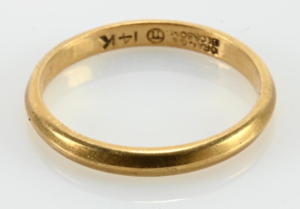 Vintage 14K Gold Orange Blossom Wedding Band Ring