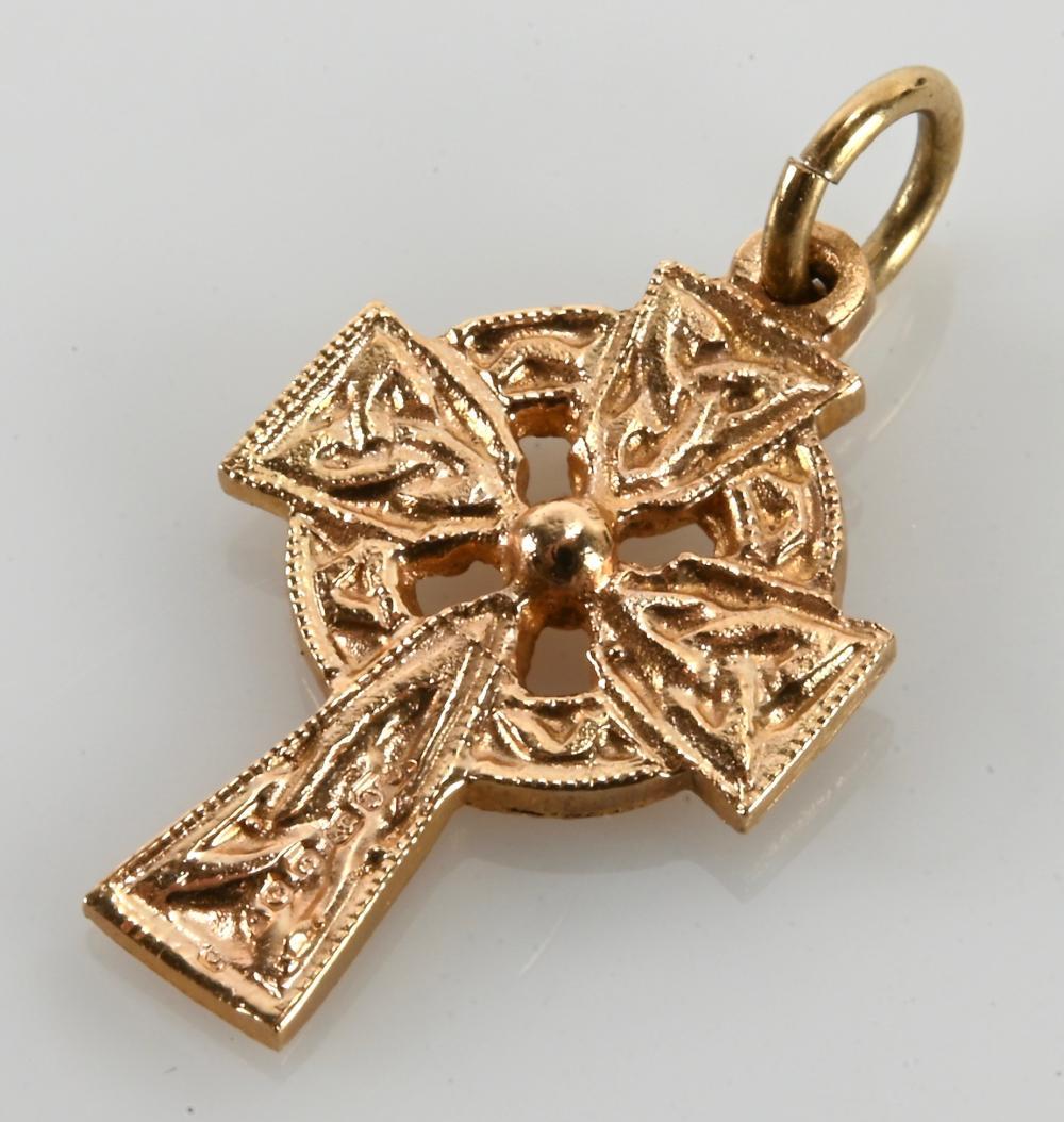 Vintage 14K Gold Cross Charm Pendant