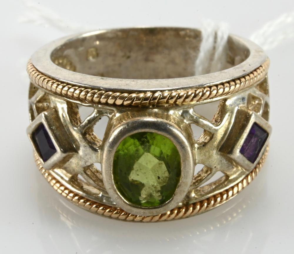 Vintage 14K-925 Designer Gemstone Ring