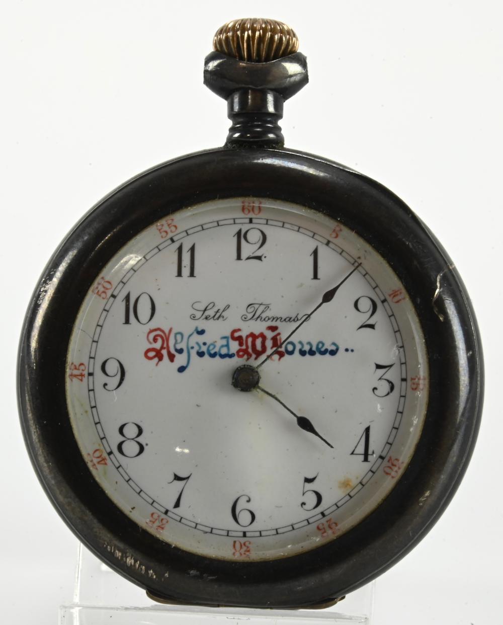 Antique Seth Thomas Sterling Case Pocket Watch