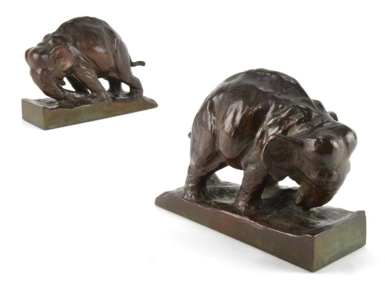 Mahonri Young Bronze Elephant Bookends