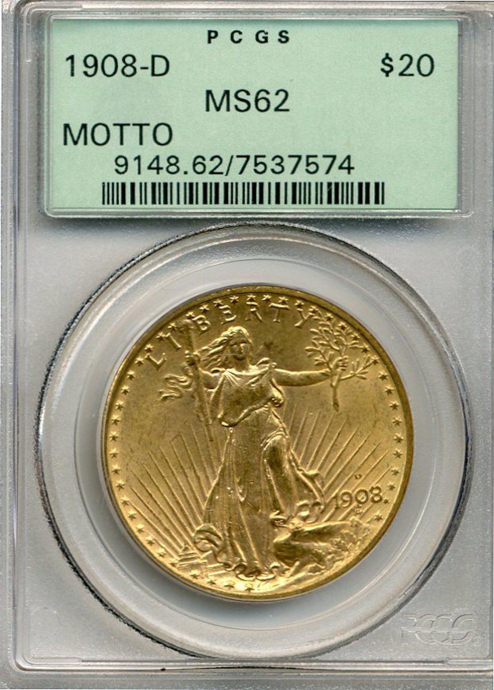 1908-D $20.00 Gold Saint Gaudens MOTTO