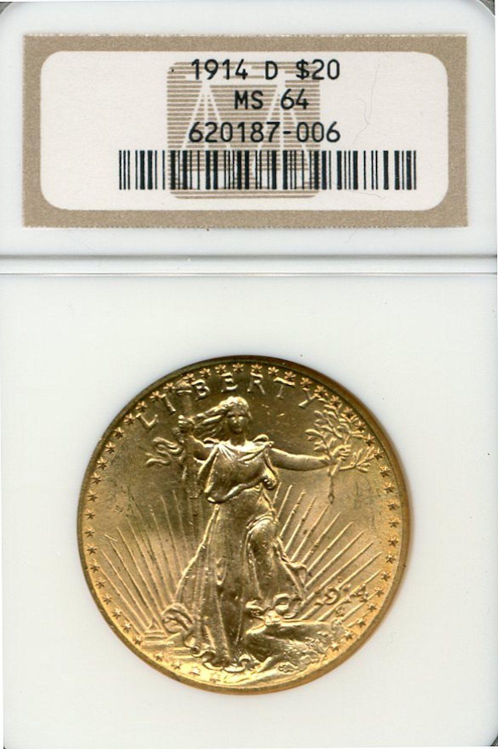1914-D $20.00 Gold Saint Gaudens