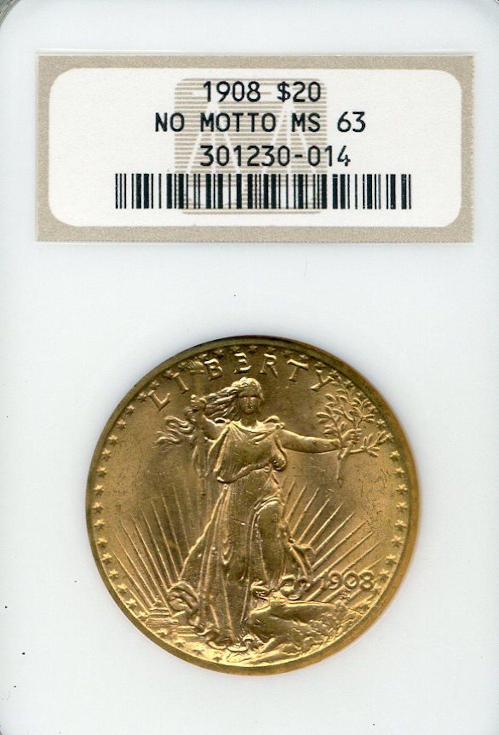 1908 $20.00 Gold Saint Gaudens No Motto