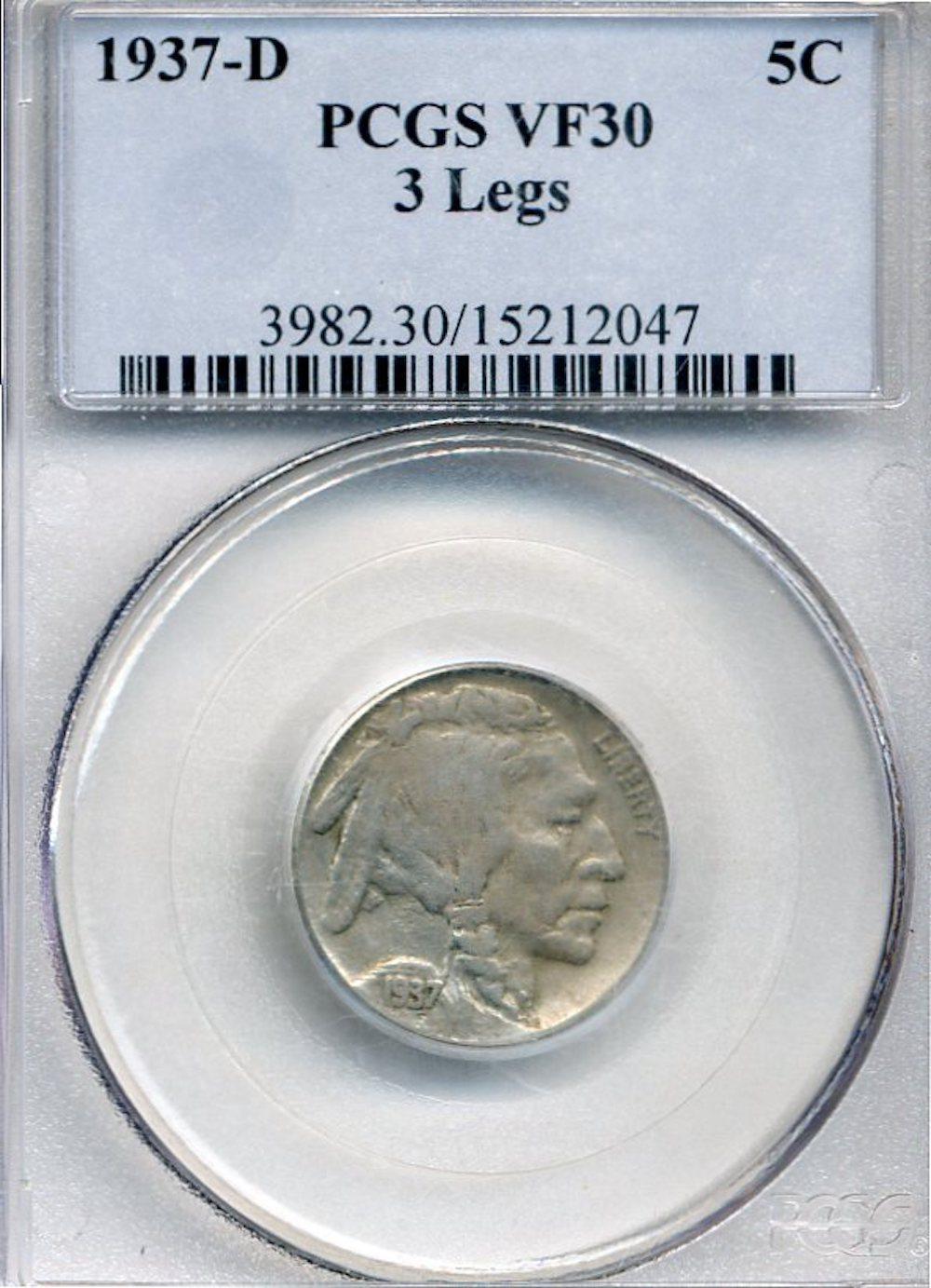 1937-D Three Legged Buffalo Nickel