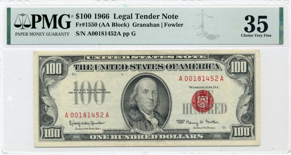 1966 $100.00 Legal Tender Note