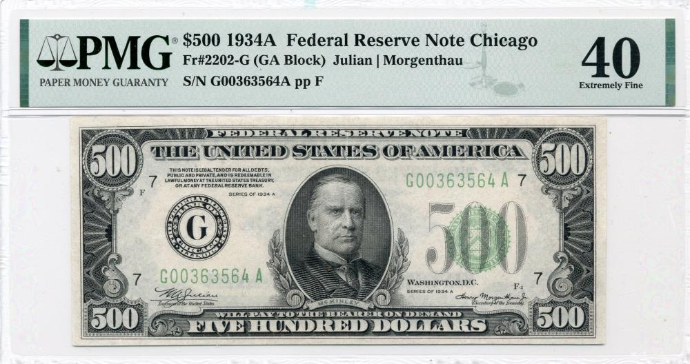 1934-A $500.00 Federal Reserve Chicago Note