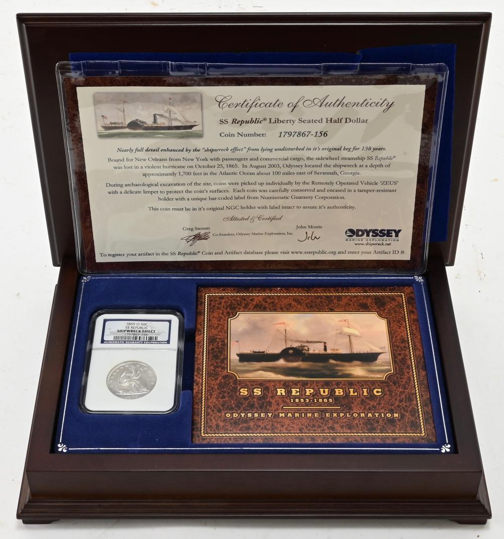 Original 1859-O SS Republic Seated Liberty Half Dollar
