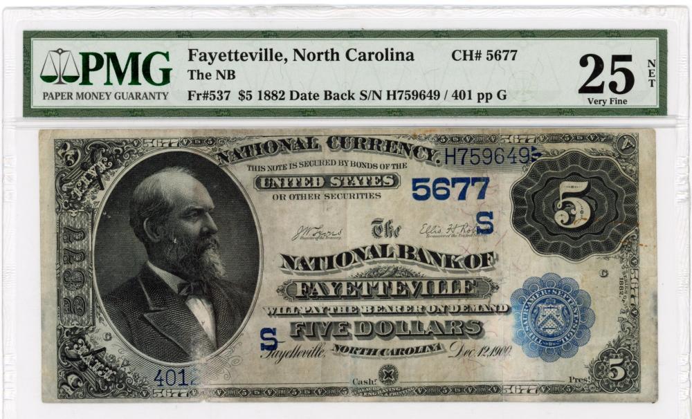 1882 $5.00 Date Back NB Fayetteville N.C. Note