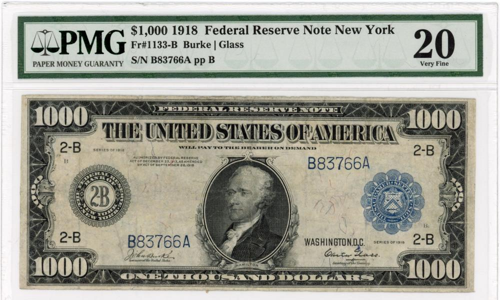 Rare 1918 $1000.00 Federal Reserve New York Currency Note