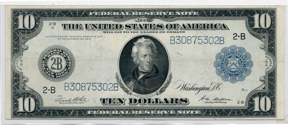 1914 $10.00 Federal Reserve Currency Note