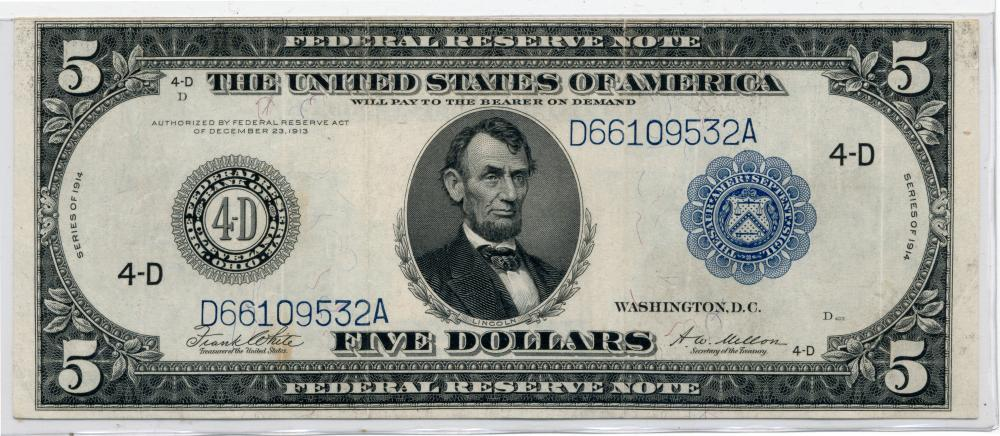 1914 $5.00 Federal Reserve Currency Note