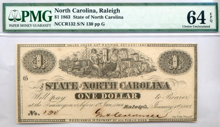 1863 $1.00 North Carolina Note