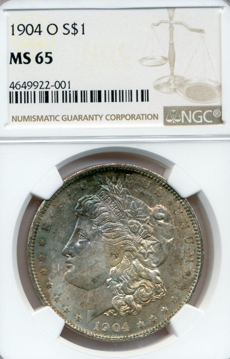 1904-O Rainbow Toned Morgan Dollar