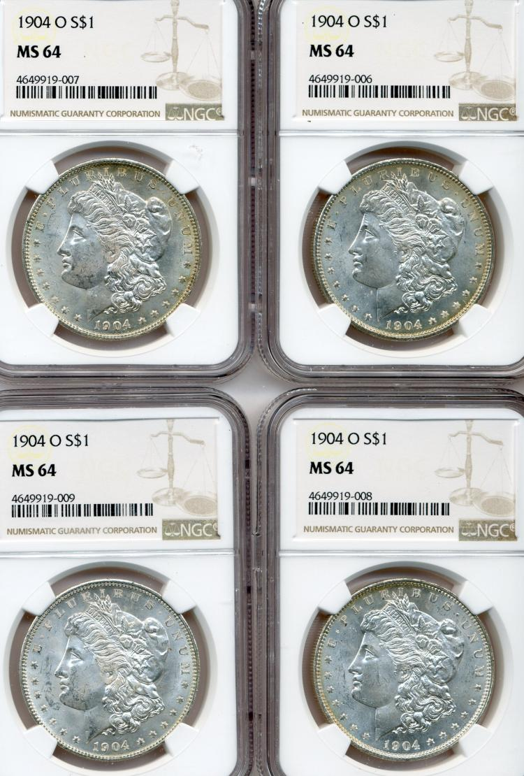 (4) 1904-O Morgan Dollars