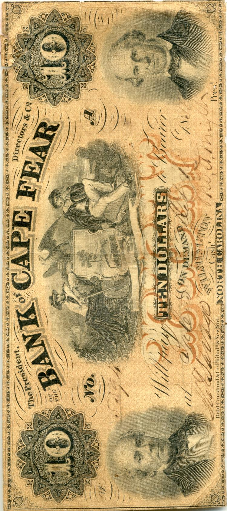 1858 $10 Bank Of Cape Fear Note