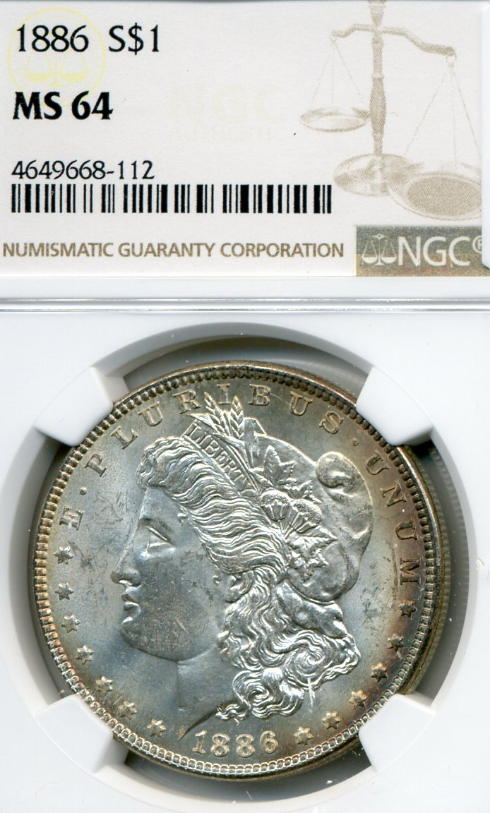 1886 Rev Rainbow Toned Morgan Dollar