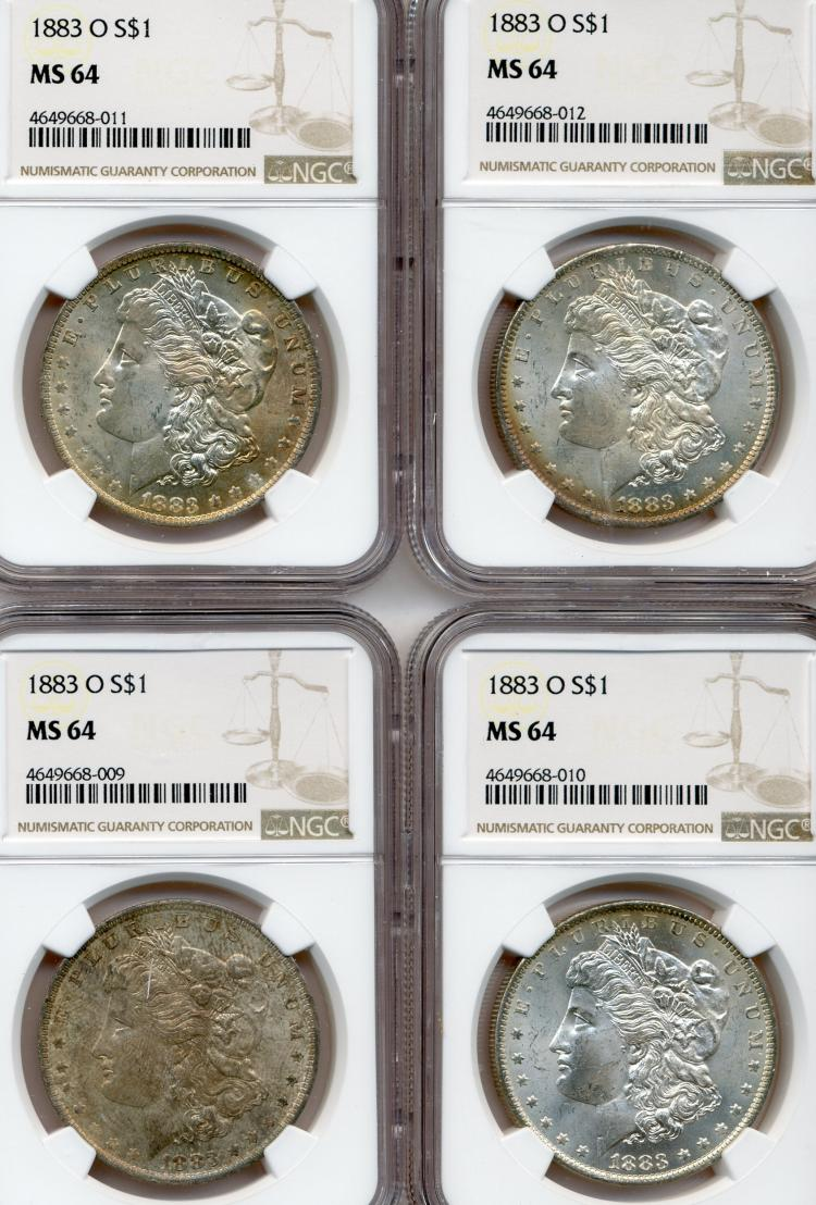 (4) 1883-O Morgan Dollar