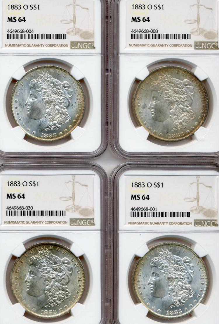 (4) 1883-O Morgan Dollars