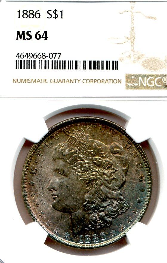 1886 Rainbow Toned Morgan Dollar