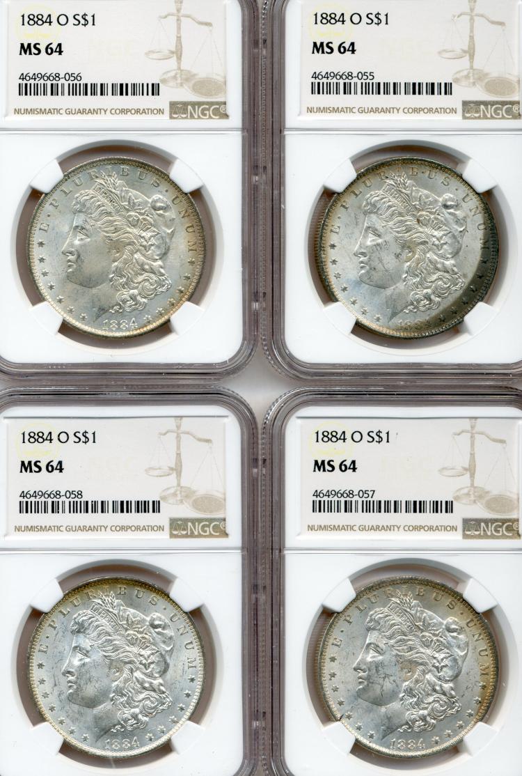 (4) 1884-O Morgan Dollars