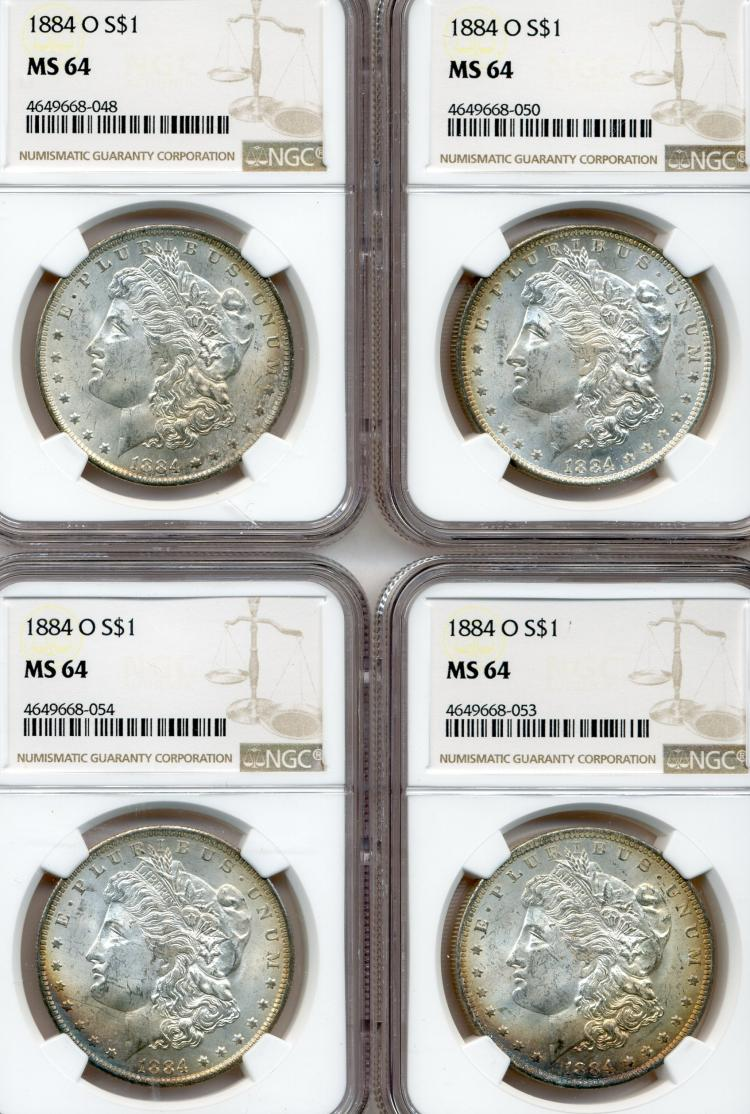 (4) 1884-O Morgan Dollars