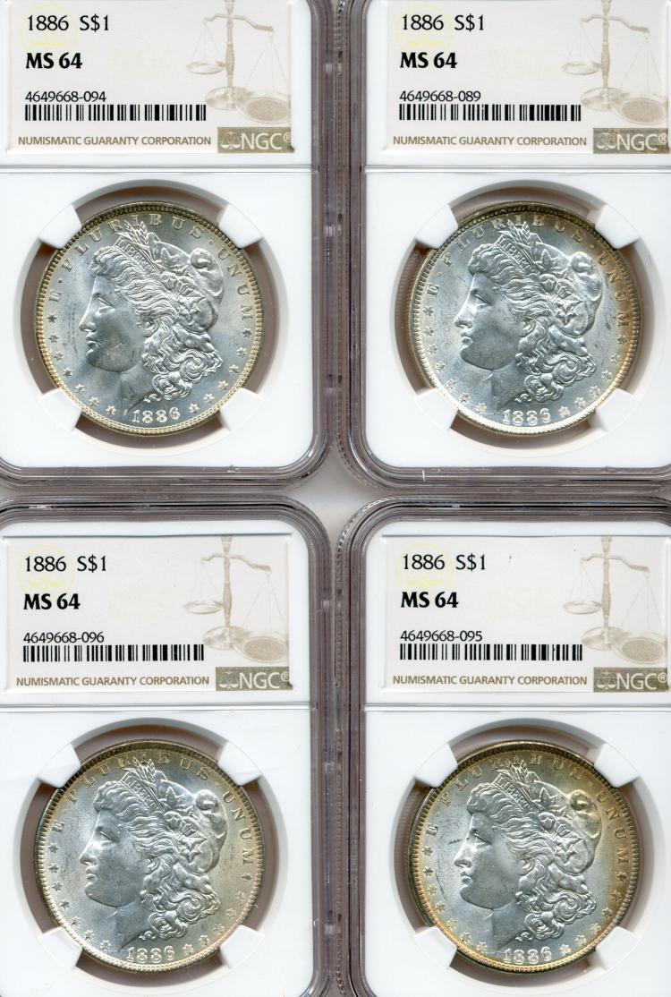 (4) 1886 Morgan Dollars