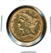 1880 $5.00 Gold Liberty Head
