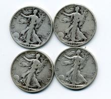 (20) 1930s Walking Liberty Half Dollars